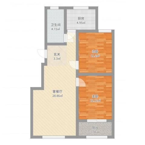 凤凰名都2室2厅1卫1厨82.00㎡户型图
