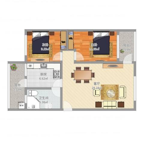 富丽花园(花都)2室1厅1卫1厨88.00㎡户型图