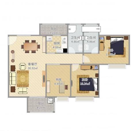 宝翠苑3室2厅2卫1厨104.00㎡户型图