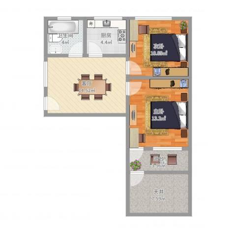 玉兰小区2室1厅1卫1厨73.00㎡户型图