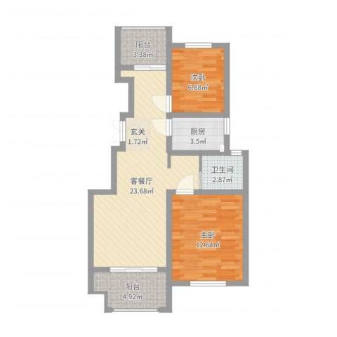 建联学府景园2室2厅1卫1厨72.00㎡户型图
