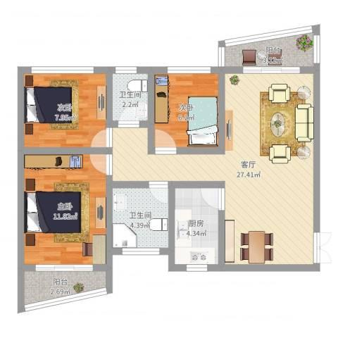 银泉花园3室1厅2卫1厨88.00㎡户型图