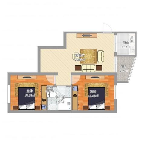 名仕嘉景苑2室2厅1卫1厨66.00㎡户型图