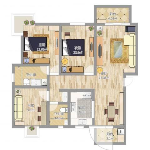 滨浦新苑四村3室1厅2卫1厨113.00㎡户型图