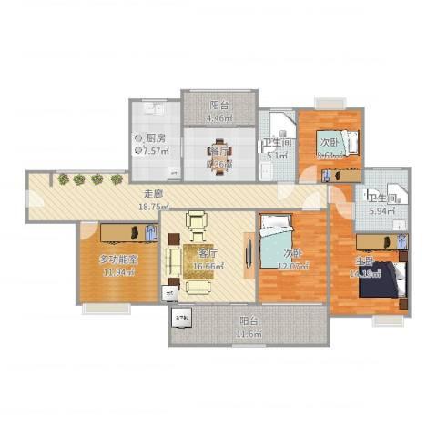 珠光御景湾3室2厅2卫1厨155.00㎡户型图