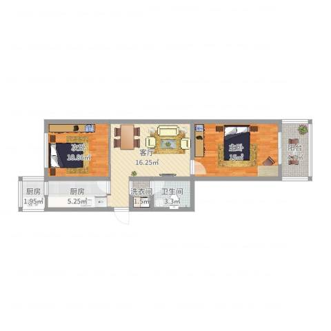金波里2室1厅1卫2厨74.00㎡户型图
