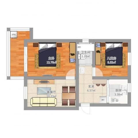 采荷小区2室2厅1卫1厨61.00㎡户型图
