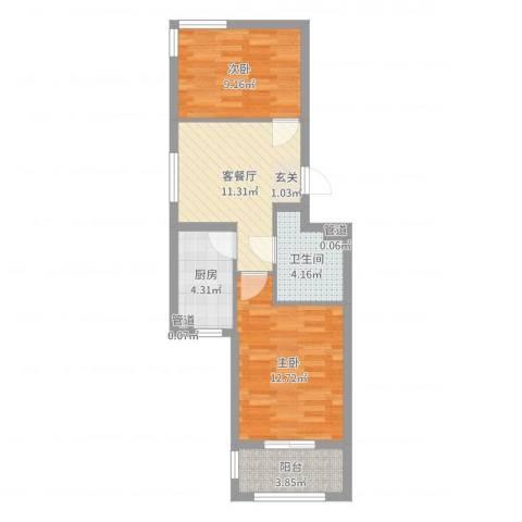 双湖锦苑2室2厅1卫1厨57.00㎡户型图