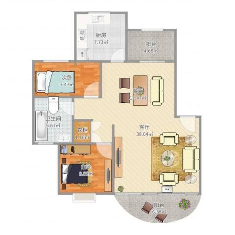 明丰花园2室1厅1卫1厨92.00㎡户型图