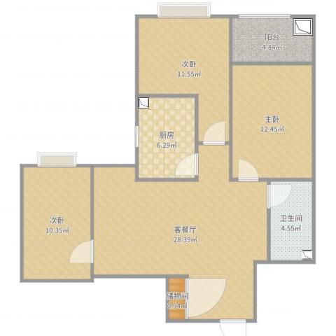 三室两厅3室2厅1卫1厨99.00㎡户型图