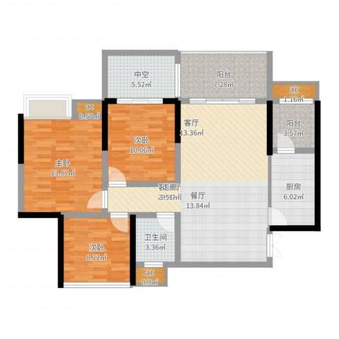 远大都市风景3室2厅1卫1厨131.00㎡户型图
