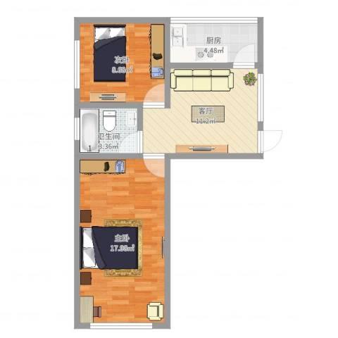 威宁大楼2室1厅1卫1厨57.00㎡户型图