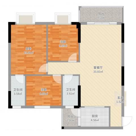 东汇家园3室2厅2卫1厨108.00㎡户型图