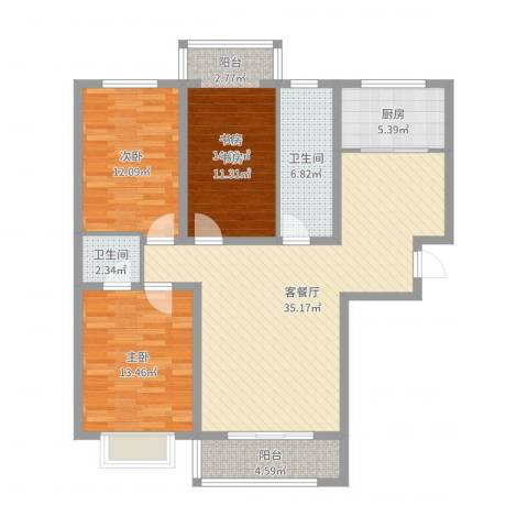 长城小区3室2厅2卫1厨117.00㎡户型图