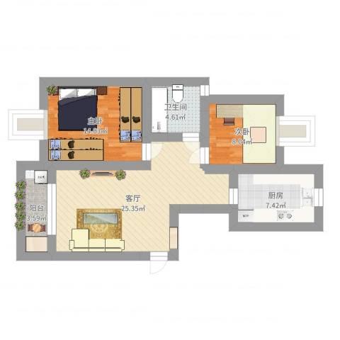 上大阳光乾和园2室1厅1卫1厨79.00㎡户型图