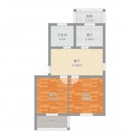 龙乡小区2室2厅1卫1厨68.00㎡户型图