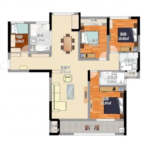 宣佳世纪嘉园4室2厅5卫2厨135.00㎡户型图