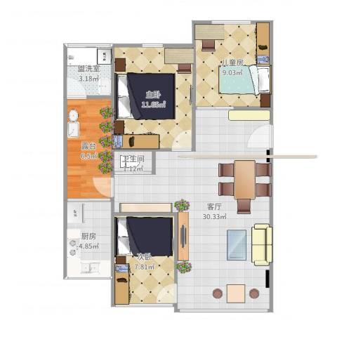 德兴园3室3厅1卫1厨93.00㎡户型图