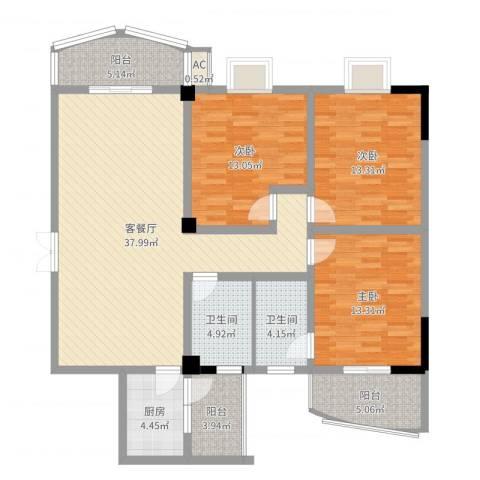 香格里拉城市花园3室2厅2卫1厨132.00㎡户型图