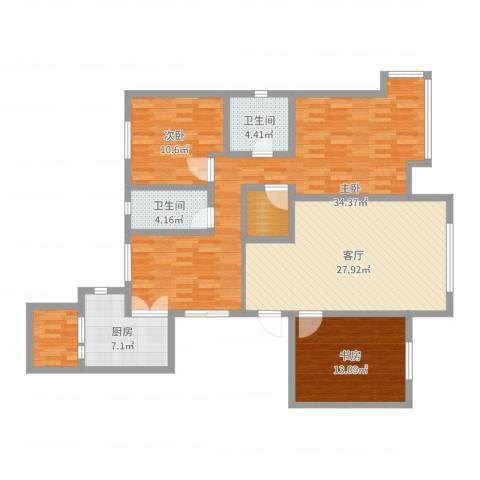 御融公馆3室1厅2卫1厨135.00㎡户型图