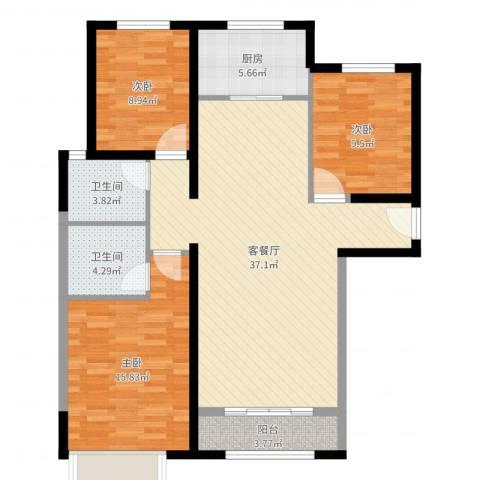 御融公馆3室2厅2卫1厨111.00㎡户型图