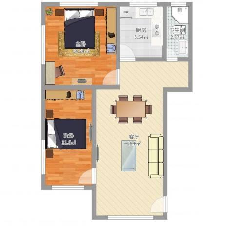 市桥大南路小区2室1厅1卫1厨76.00㎡户型图