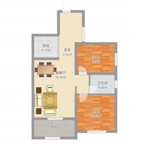 天逸双水湾2室2厅1卫1厨90.00㎡户型图