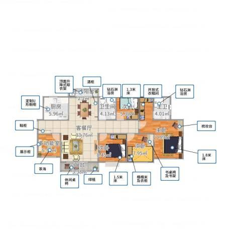 三亚同心家园4室2厅1卫1厨123.00㎡户型图