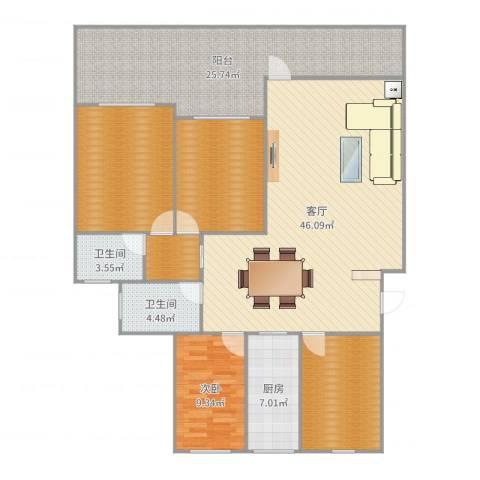美树铭家1室1厅2卫1厨170.00㎡户型图