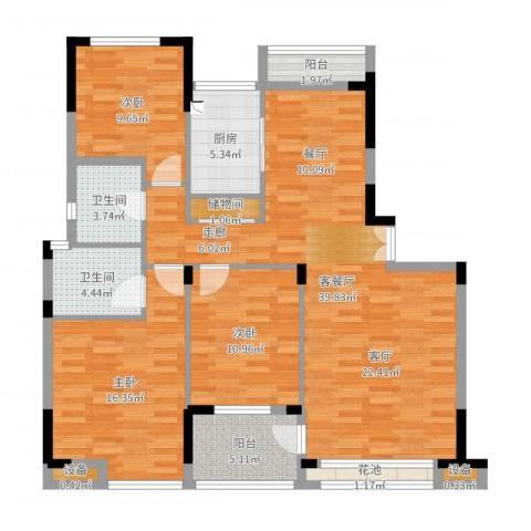 香格里拉花园紫阳3室2厅2卫1厨125.00㎡户型图