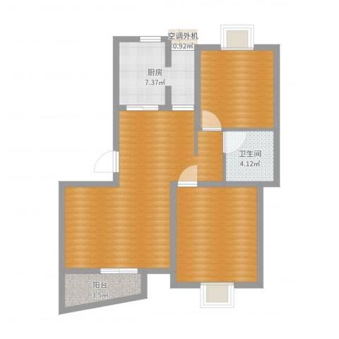 毕加索小镇2室1厅1卫1厨81.00㎡户型图