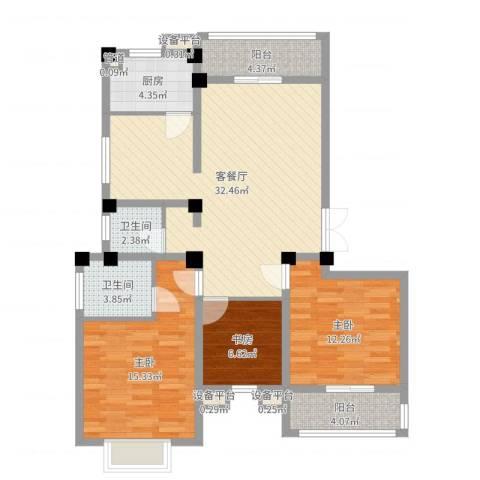 九五花园3室2厅2卫1厨108.00㎡户型图