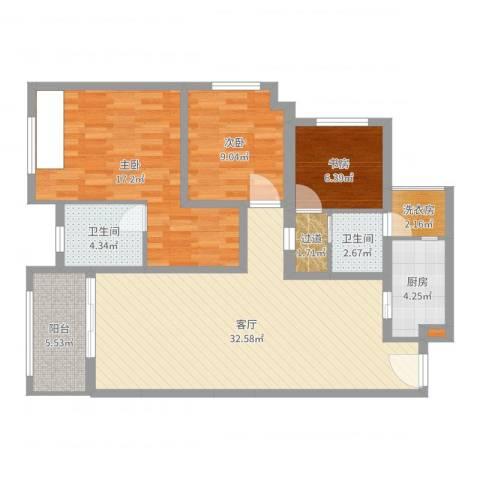 五星华府3室1厅2卫1厨107.00㎡户型图