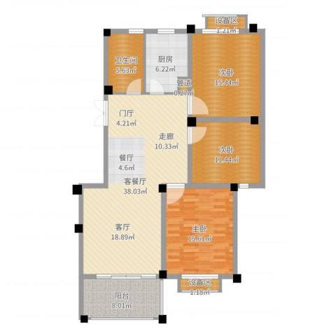 滨河阳光3室2厅3卫2厨129.00㎡户型图