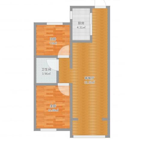 中海银海熙岸2室2厅1卫1厨73.00㎡户型图