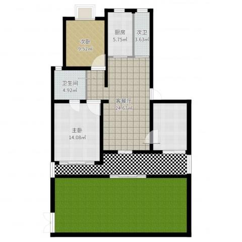 盛源公寓342室2厅1卫1厨152.00㎡户型图
