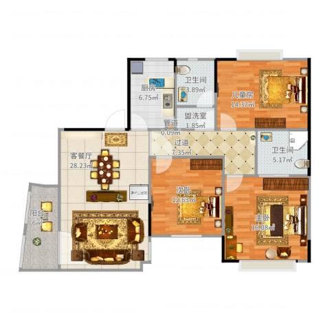 丹霞翠微苑3室4厅4卫1厨138.00㎡户型图