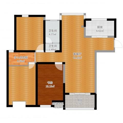海陵首府1室2厅3卫1厨137.00㎡户型图