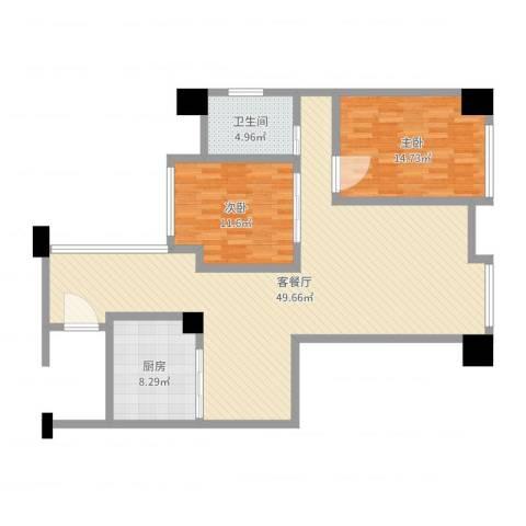 丰泰东海山庄2室2厅1卫1厨112.00㎡户型图