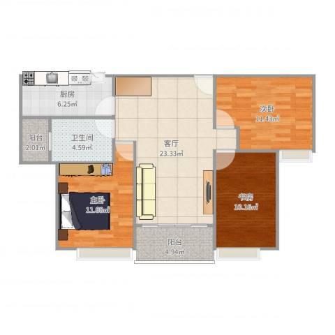 恒大御景半岛3室1厅1卫1厨87.00㎡户型图