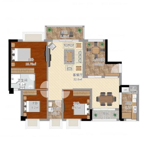 天林湖花园3室2厅2卫1厨121.00㎡户型图