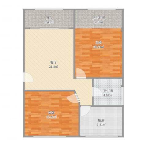 德埔小区2室1厅1卫1厨78.00㎡户型图