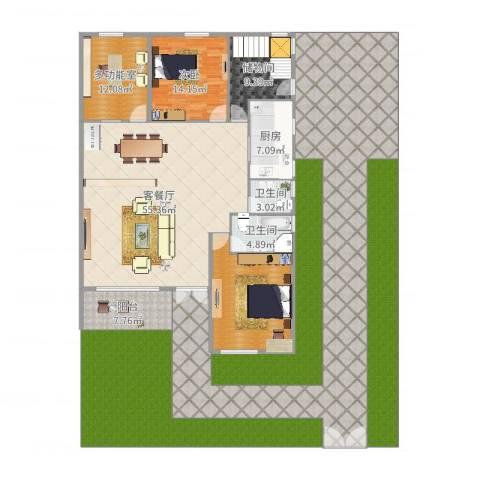珠江国际城别墅1室2厅2卫1厨352.00㎡户型图