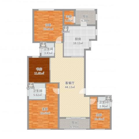 嘉天汇5室2厅3卫1厨197.00㎡户型图