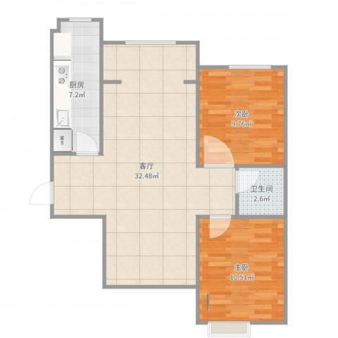 海棠公社2室1厅1卫1厨78.00㎡户型图