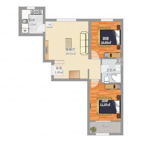 首创悦都汇2室2厅1卫1厨74.00㎡户型图