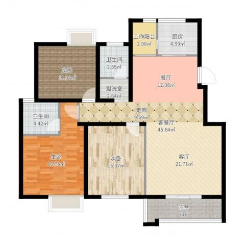 泰和御景豪庭3室2厅2卫1厨140.00㎡户型图