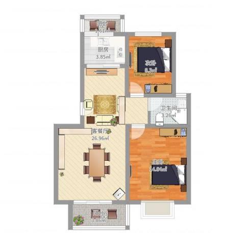 正康花园2室2厅1卫1厨90.00㎡户型图