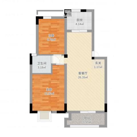 联华泉山湖2室2厅1卫1厨58.76㎡户型图