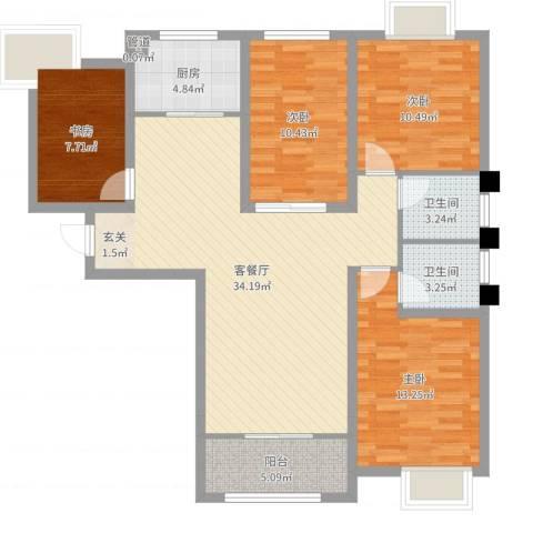 御景龙湾4室2厅2卫1厨116.00㎡户型图